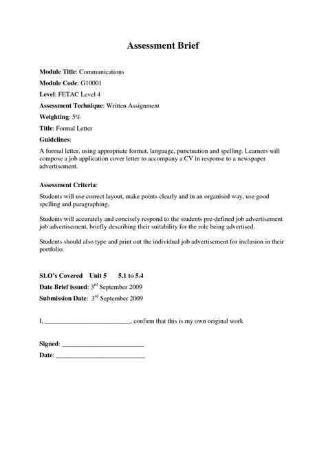 Official Letter Of Employment Formal Letter For Formal Letter Template