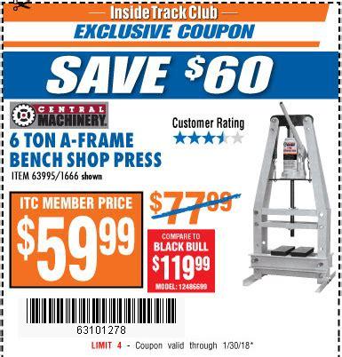 6 ton a frame bench shop press 6 ton a frame bench shop press harbor freight tools coupon