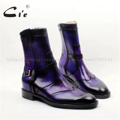 purple boots mens aliexpress buy cie toe w tips zip handmade