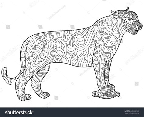 panther coloring book adults vector illustration stock