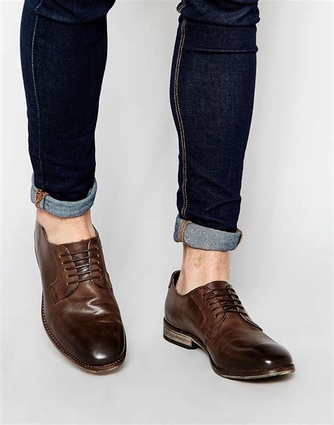 asos derby shoes in brown leather in brown for lyst