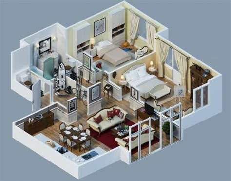 2 Bedroom Flat Floor Plan by Plan Maison 3d D Appartement 2 Pi 232 Ces En 60 Exemples