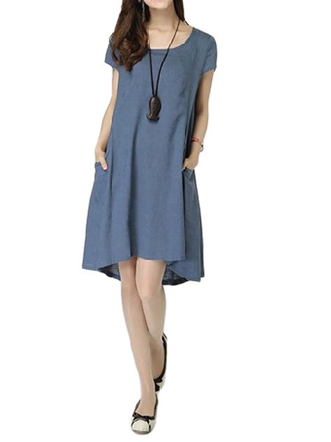 For Two Firra Linen Dress 5 casual slim pocket solid color linen cotton dress for alex nld