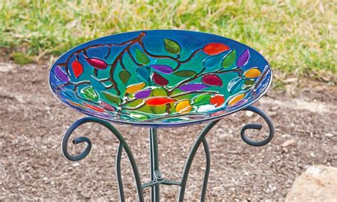 glass birdbath with stand groupon goods