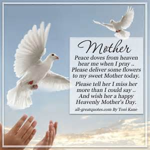 mother peace doves from heaven mothers day in heaven card