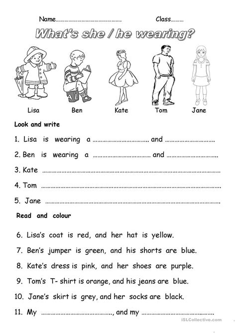 what color are you wearing what s she wearing worksheet free esl printable
