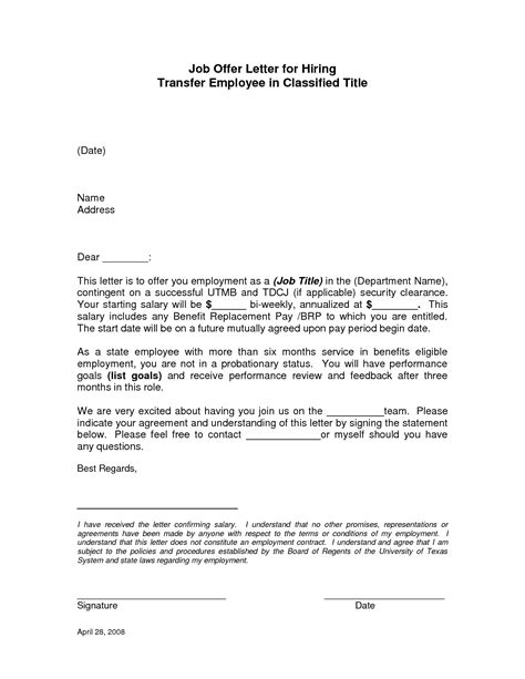 Transfer Letter To An Employee formal offer letter formal letter template