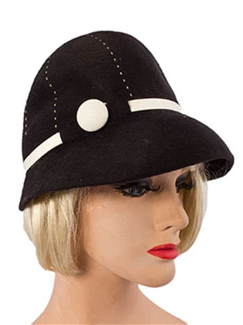 Contrast Stitching Cloche Hat 60s mr black felt cloche hat vintage hats blue