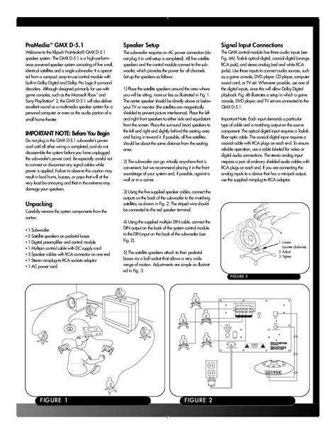 Klipsch Promedia Gmx D 5 1 pdf manual for klipsch speaker promedia gmx d 5 1