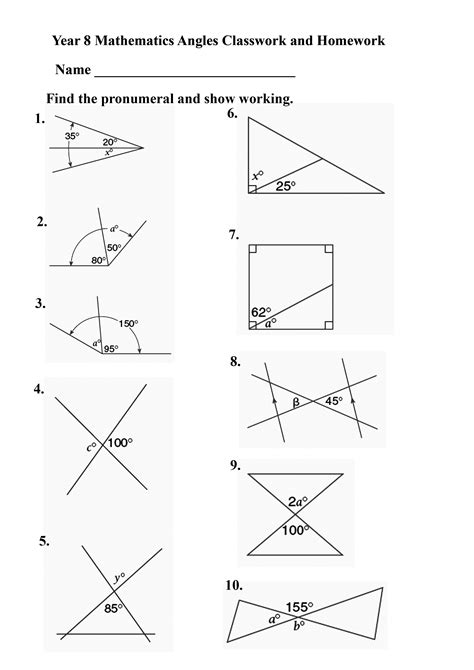 Angles Worksheet by Howszat Maths The Greatest Site In All The