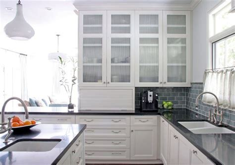 White Kitchen Cabinets With Glass Glass Front Cabinets White Kitchen Counters Reeded Glass Cabinet Doors Subway Tile
