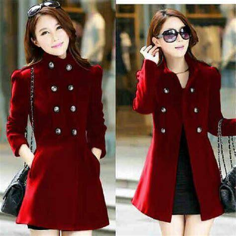 Jaket Wanita Melda Merah Murah Jaket Coat Wanita Merah Model Terbaru Murah
