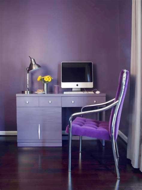 purple desk chic guest room pops with purple home remodeling ideas