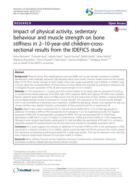 sectional results impact of physical activity sedentary behaviour and