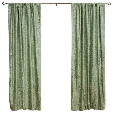 olive green curtain panels indian selections olive green rod pocket velvet curtain