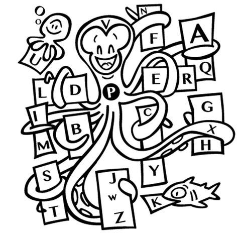 Coloriage La Pieuvre Et L Alphabet En Ligne Gratuit 224 Imprimer S Coloriage AlphabetL