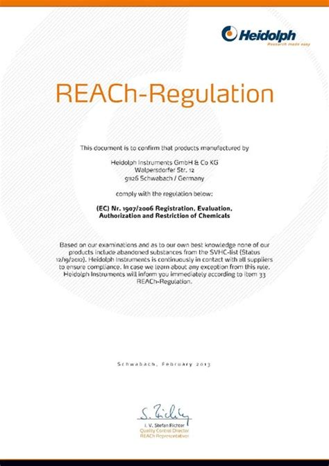 REACh Regulation Heidolph Instruments