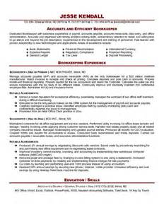 Bookkeeping Resumes by Free Bookkeeper Resume Exle