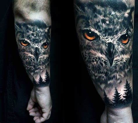 men forarm tattoos 40 realistic owl designs for nocturnal bird ideas
