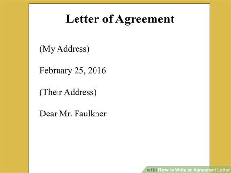 Contract Letter Draft how to write an agreement letter with pictures wikihow