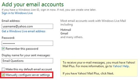 yahoo email manual setup how to configure yahoo mail in windows live mail 2012 on