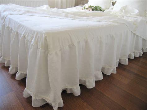 off white coverlet off white ivory linen dust ruffle bedskirt base coverlet
