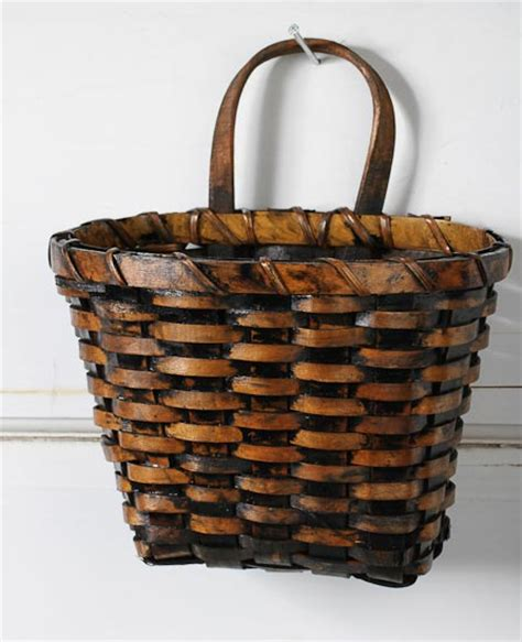 home decor baskets primitive dark stain wall basket baskets buckets