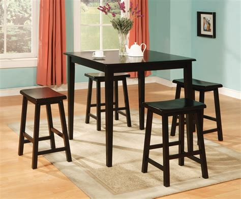 Pub Table Dining Set Black 5 Pc Pub Style Counter Height Set