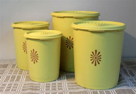 Tupperware Canister Gold Kerupuk vintage tupperware canister set harvest gold sunburst
