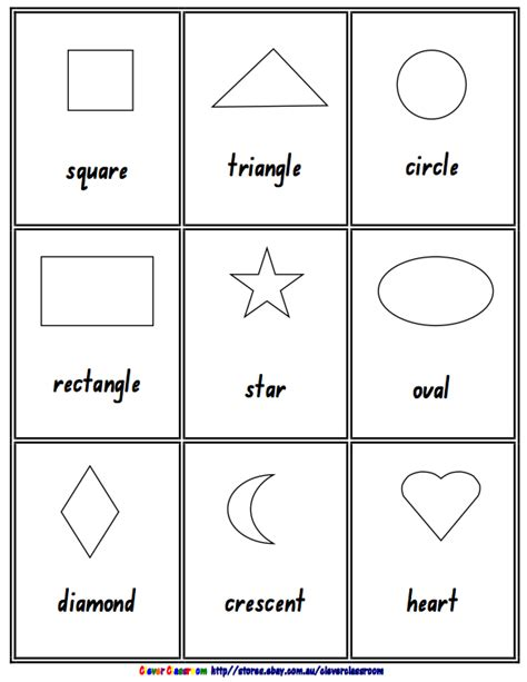 free preschool flashcards numbers and shapes teaching free math lesson 2d 3d shape posters black and white