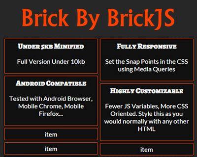 brick layout js grid layout jquery plugins
