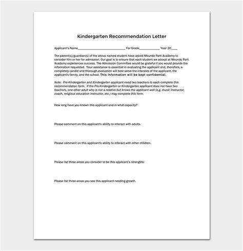 Request Letter For Kindergarten kindergarten recommendation letter 5 sles exles formats