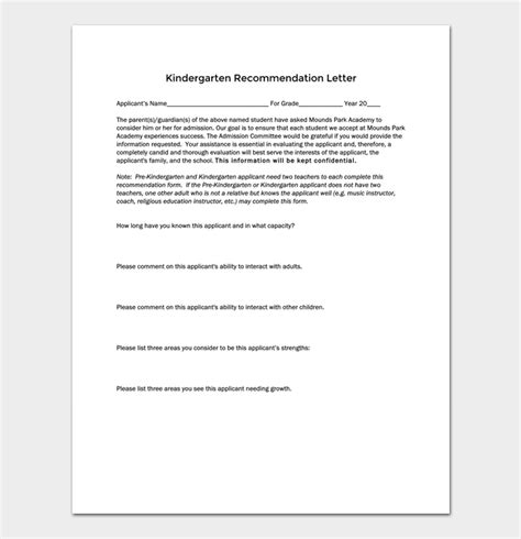 Letter Of Recommendation Guide kindergarten recommendation letter 5 sles exles