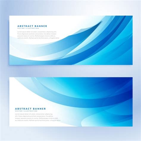 Set Blue Abstrak abstract wavy blue banners set vector free
