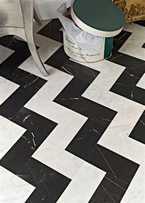 zig zag floor pattern black and white tile zigzag marble floor powder room