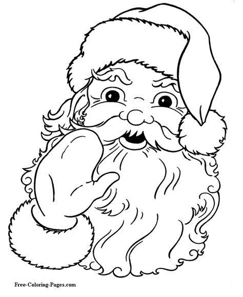 printable santa pictures free santa coloring pages christmas 01