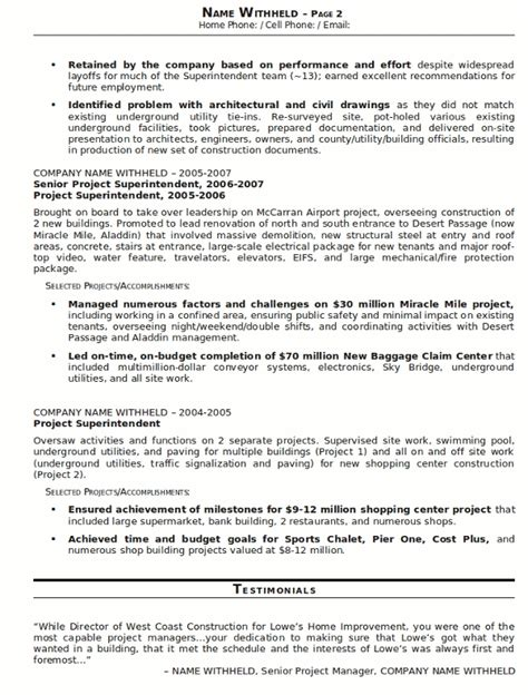 Construction Resume Exles Sles Construction Superintendent Resume Jvwithmenow