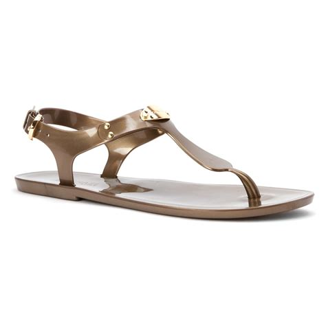 mk jelly sandals michael michael kors mk plate jelly sandal in brown lyst