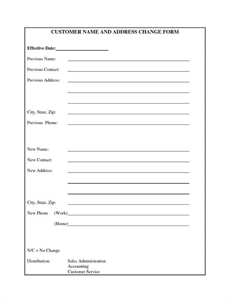 Printable Change Of Address Form