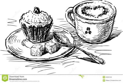 kuchen zeichnung kaffee mit kuchen stockbilder bild 29381024