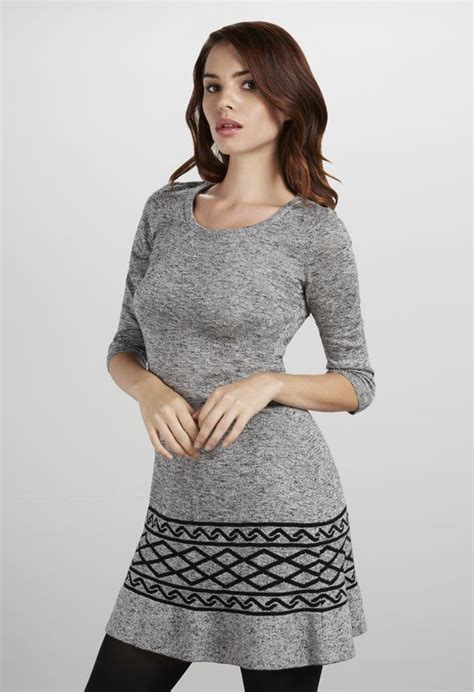 tight knit fit and flare sweater dress clothing in burgundy get