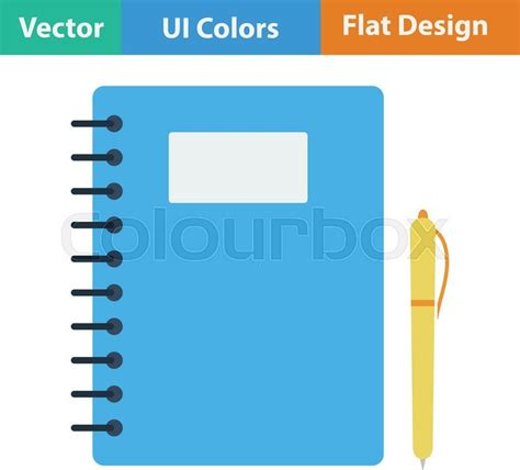 design icon book flat design icon of exercise book in ui colors vector