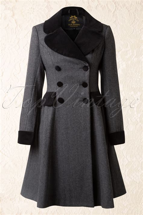 swing coat 50s swing coat in grey and black wool