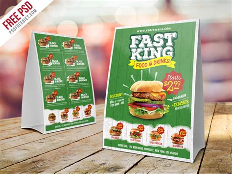 Fast Food Menu Card Templates by Fast Food Menu Table Tent Template Psd Psdfreebies
