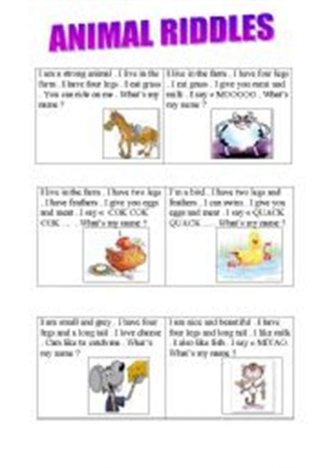 printable animal riddles english teaching worksheets animal riddles