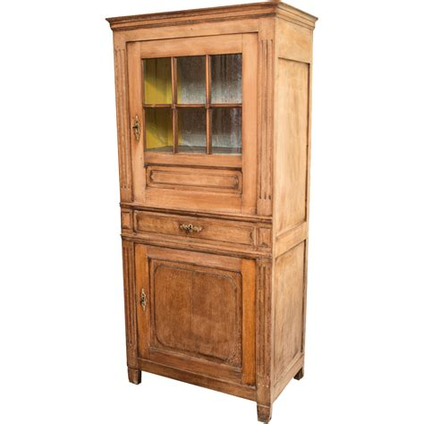 Glass Front Cabinet by Belgian Bleached Oak Cabinet With Original Glass Front