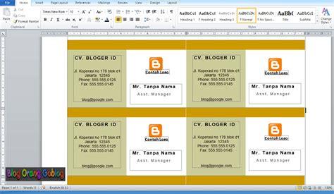 membuat id card sederhana membuat business cards sederhana menggunakan ms words