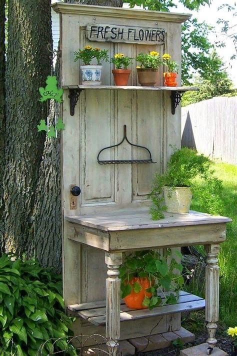 old door potting bench repurpose a old door and turn it into a potting table