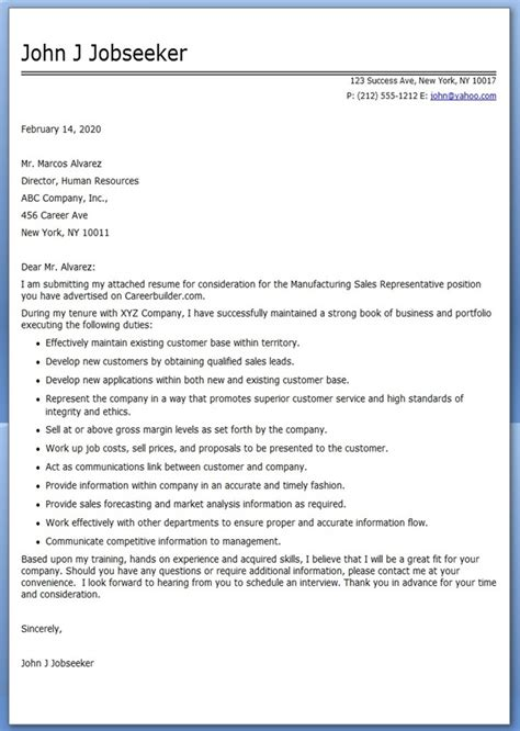 Sles Of Cover Letters For Resumes by Manufacturing Sales Cover Letter Resume Downloads