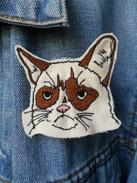 Grumpy Cat Patch grumpy cat embroidered patch brooch brooches cats and